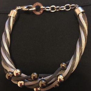 Women's Elegant Silver Mesh and Bead bracelet